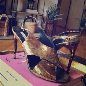Gold Diane von Furstenberg sandal heel DVF